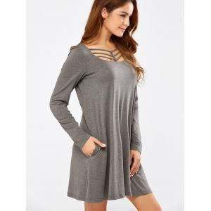 Long Sleeve Strappy A Line Casual Everyday Dress - GRAY M