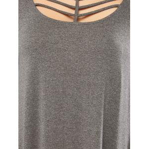 Long Sleeve Strappy A Line Casual Short Dress - GRAY M