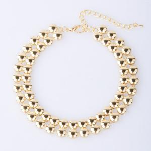 Alloy Double Beads Choker Necklace - GOLDEN