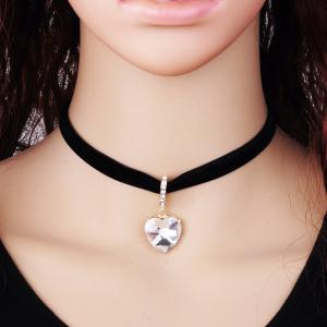 Rhinestone Faux Diamond Heart Pendant Velvet Choker Necklace - White