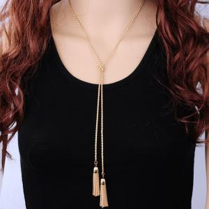 Alloy Double Tassel Sweater Chain