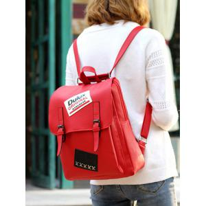 PU Leather Patches Buckles Straps Backpack -