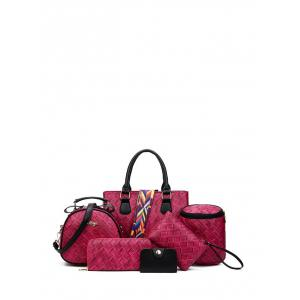 Letter Colored Strap Weaving Handbag