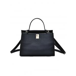 Metal PU Leather Handbag With Colored Strap -
