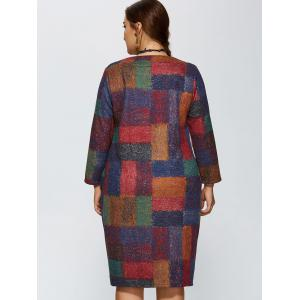 Plus Size Plaid Baggy Dress - COLORMIX 4XL
