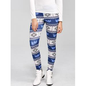 Skinny Snowflake Print Christmas Leggings - Blue - S