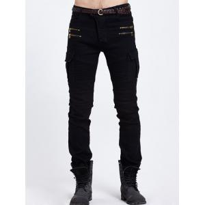 Skinny Pocket Zipper Embellished Biker Jeans