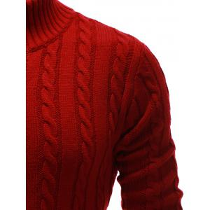 High Neck Button Up Twist Knit Cardigan - RED 2XL