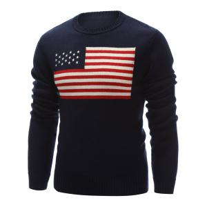 Crew Neck Flag Pattern Pullover Sweater - CADETBLUE 2XL