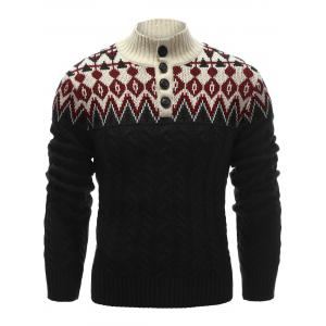 Zigzag Pattern Button Up Cable Knit Sweater - Black - M