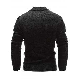 Stand Collar Half Zip Up Cable Knit Sweater - BLACK 2XL
