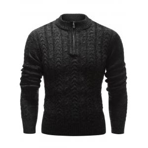 Stand Collar Half Zip Up Cable Knit Sweater - Black - M