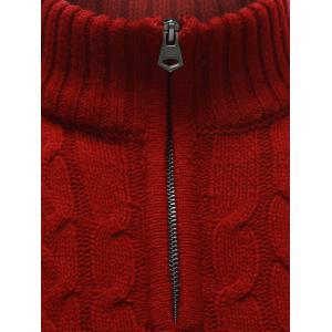 Half Zip Up Cable Knit Pullover Sweater - RED 2XL