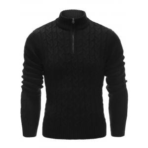 Half Zip Up Cable Knit Pullover Sweater - Black - M