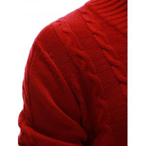 Rib Hem Cable Knit Pullover Sweater - RED 2XL