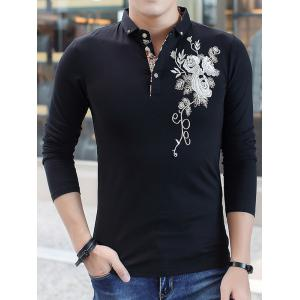 Long Sleeve Floral Embroidered Polo T-Shirt