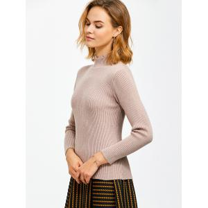High Neck Ribbed Knit Sweater -