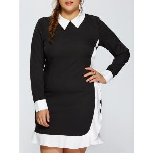 Contrast Trim Plus Size Panel Dress