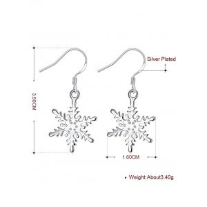 Rhinestoned Snowflake Drop Earrings -