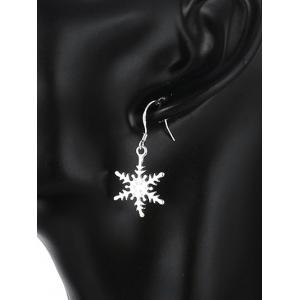 Rhinestone Snowflake Christmas Drop Earrings - SILVER