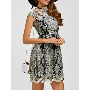 Arab Totem Embroidery High Waist Lace Skater Dress
