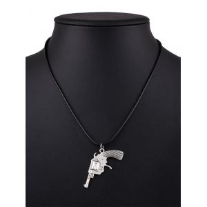Pistol Faux Leather Pendant Necklace
