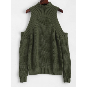 Funnel Neck Cold Shoulder Sweater - Blackish Green - One Size