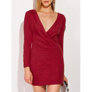 Low Cut Long Sleeve Plunge Fitted Dress - Red - M