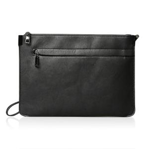 Metal PU Leather Double Zipper Clutch Bag - Black