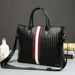 Colour Block Weave Striped Pattern Briefcase -