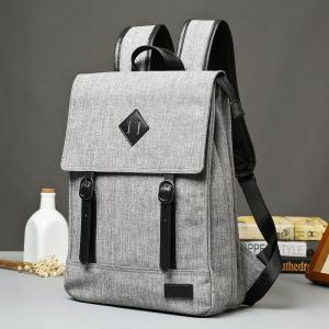 Splicing Colour Block Double Buckle Backpack -