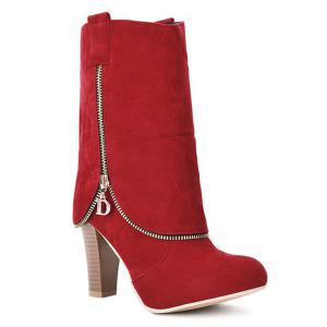 Chunky Heel Suede Zipper Boots - Red - 37