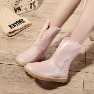 Colour Splicing PU Leather Snow Boots - PINK 39