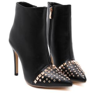Pointed Toe Rivet Stiletto Heel Ankle Boots -