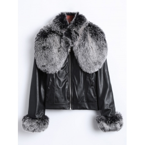 Zipper Faux Fur Biker Jacket