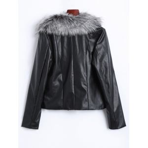 Zippers Faux Leather Biker Jacket with Fur Collar - BLACK 3XL
