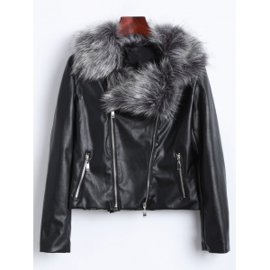 Zippers Faux Leather Biker Jacket with Fur Collar - Black - 3xl