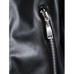 Zippers Faux Leather Biker Jacket with Fur Collar -