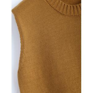 Plus Size Slit Sleeveless Jumper Vest Sweater - GINGER 5XL