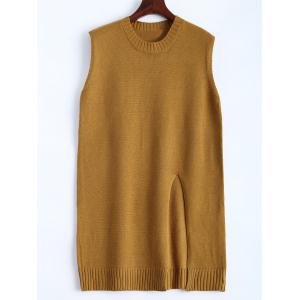 Plus Size Slit Sleeveless Jumper Vest Sweater