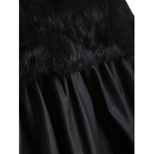 Plus Size Lace Splicing Faux Fur Knitted Dress - BLACK 4XL