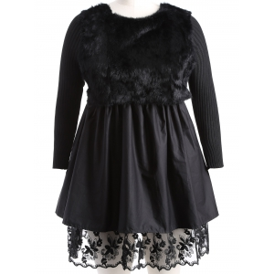 Plus Size Lace Splicing Faux Fur Knitted Dress