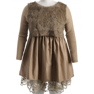 Plus Size Lace Splicing Faux Fur Knitted Dress - Camel - Xl