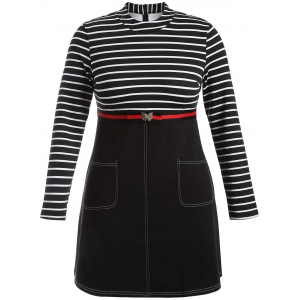Plus Size Striped Dress with Pockets