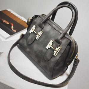 Metal Zip Handbag - Gray