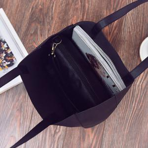 Open Faux Leather Tote Bag - BLACK