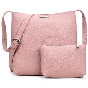 Metal Zip Shoulder Clutch Bag Set - Pink