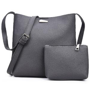 Metal Zip Shoulder Clutch Bag Set - Deep Gray