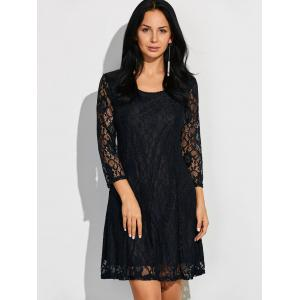 Scoop Neck Three Quarter Sleeve Lace Dress - Black - S