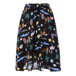 Cute Fruit Print Midi Skirt -